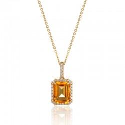 Luvente Citrine & Diamond Pendant
