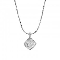 Classic Chain Pendant Necklace in Silver with Diamonds