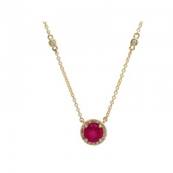 14K Yellow Gold Diamond & Natural Ruby Pendant. Round Diamonds (some on chain) 0.11 TCW & Round Ruby 1.00 TCW