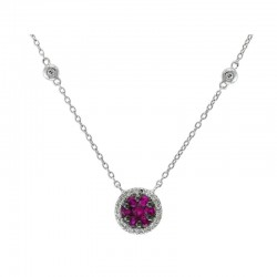 14K White Gold Diamond & Natural Ruby Pendant. Round Diamonds (some on Chain) 0.12 TCW & Round Ruby 0.35 TCW