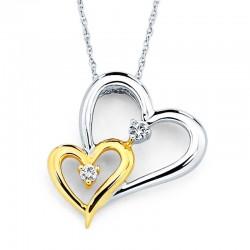 14KWY Diamond Double Heart Pendant