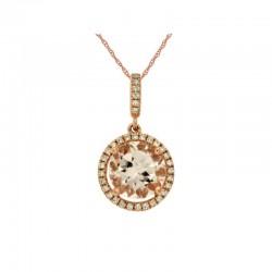 14KR Morganite & Diamond Pendant