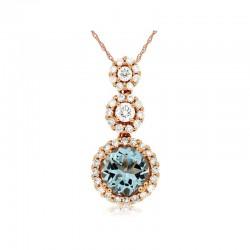 14KR Aquamarine & Diamond Pendant
