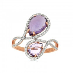 14KR Amethyst & Diamond Ring