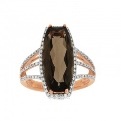 14KR Smoky Quartz & Diamond Ring