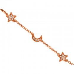 14KR Diamond Moon & Star Bracelet
