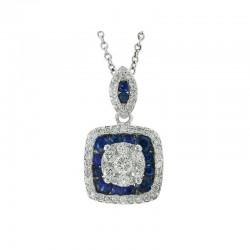 14K White Gold Women's Diamond and Sapphire Pendant. Round Diamonds 0.43 TCW & 12 Round Blue Sapphires 0.56 TCW