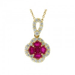 Lady's 14KY Gold Ruby & Diamond Pendant with 5=0.63tw Rubys And 29=0.44tw Round Diamonds