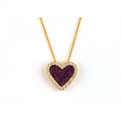 14K Rose Gold Diamond & Natural Ruby Heart Pendant. Round Diamonds 0.32 TCW & Round Rubies 0.38 TCW