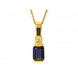 14K Yellow Gold Diamond & Natural Sapphire Pendant. Round Diamonds 0.05 TCW & Round & Princes Cut Sapphires 1.71 TCW