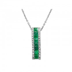 14K White Gold Diamond & Natural Emerald Pedant. Round Diamonds 0.11 TCW & Baguette Cut Emeralds 0.91 TCW