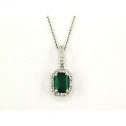 14K White Gold Diamond & Natural Emerald Pendant. Round Diamonds 0.13  TCW &  Emerald 0.95 TCW