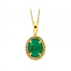 14K Yellow Gold Diamond & Natural Emerald Pendant. Round Diamonds 0.08 TCW & Oval Emerald 0.76 TCW