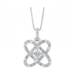14K White Gold Love's Crossing Diamond Pendant