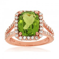 14KR Peridot & Diamond Ring