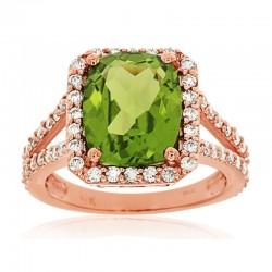 14KR Peridot & Diamond Ring