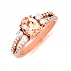 14KR Morganite & Diamond Ring