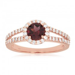 14KR Rhodolite Garnet & Diamond Ring