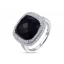 Luvente Black Onyx and Diamond Ring