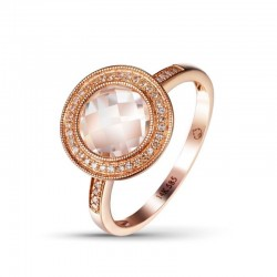 Luvente White Quartz and Diamond Ring
