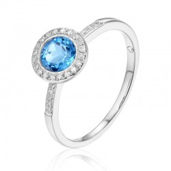 Luvente Blue Topaz and Diamond Ring