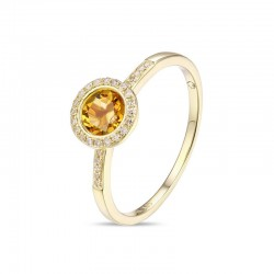 Luvente Citrine and Diamond Ring