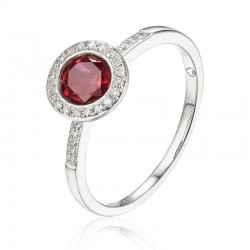 Luvente Garnet and Diamond Ring