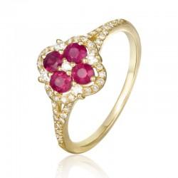 Luvente Ruby and Diamond Ring