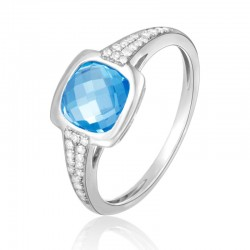 Luvente Blue Topaz and Diamond Ring
