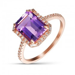 Luvente Amethyst & Diamond Ring
