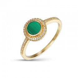 Luvente Malachite and Diamond Ring