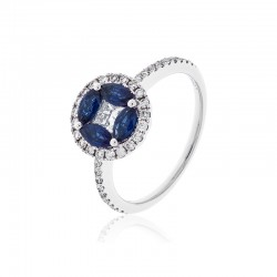 Luvente Sapphire and Diamond Ring
