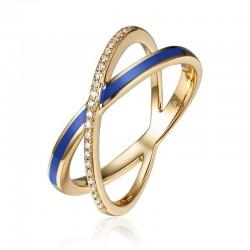 Luvente Navy Enamel and Diamond Ring