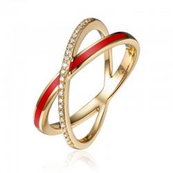 Luvente Red Enamel and Diamond Ring
