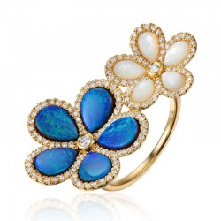 Luvente Opal, Mother of Pearl and Diamond Flower Ring