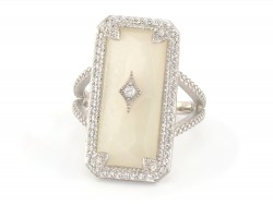 JudeFrances Silver Elongated Cushion Stone Ring
