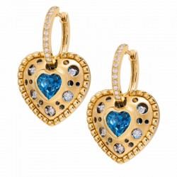 Mirror Collection Blue Topaz Heart Drop Earrings