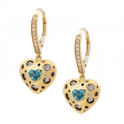 Mirror Collection Blue Topaz Heart Earrings
