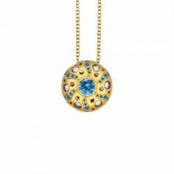 Mirror Collection Blue Topaz Circle Drop Pendant
