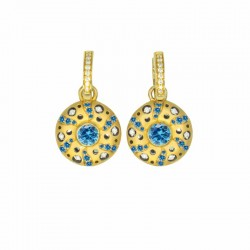 Mirror Collection Blue Topaz Circle Drop Earrings