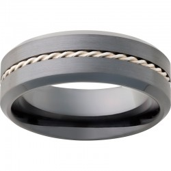Black Diamond Ceramic Sterling Silver Twisted Center Band