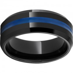 Black Ceramic Blue Enamel Band