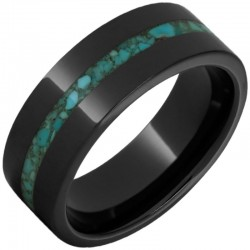 Black Ceramic Pipe Cut Turquoise Inlay Band