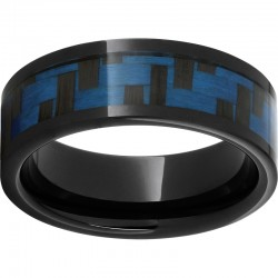 Black Ceramic Blue Carbon Fiber Band