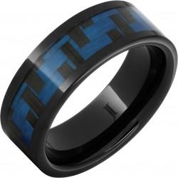 Black Ceramic Blue Carbon Fiber Band