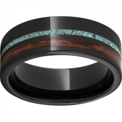 Black Ceramic Pipe Cut Cabernet Barrel Aged & Turquoise Inlay Band