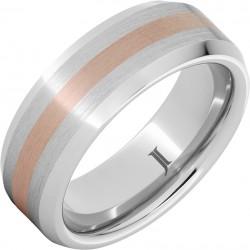 Serinium® Rose Gold Inlay Beveled Edge Band