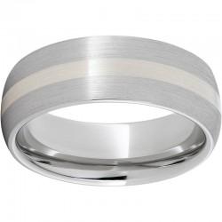 Serinium® Domed Silver Inlay Satin Band