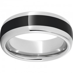 Serinium® Domed Black Ceramic Inlay Band