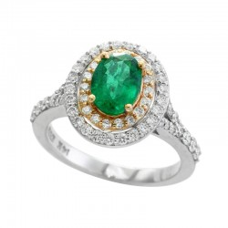 14K White and Yellow Gold Diamond & Emerald Ring. Round Diamonds 0.80 TCW & Oval Natural Emerald 1.14 TCW
